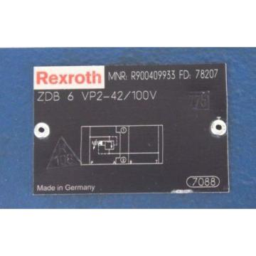 NEW Canada India BOSCH REXROTH ZDB-6-VP2-42/100V PRESSURE RELIEF VALVE R900409933