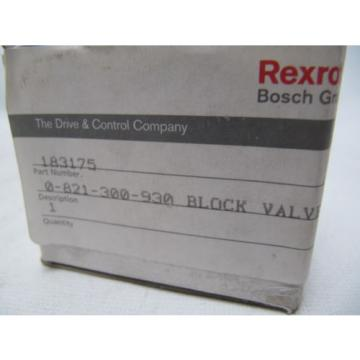 (NEW) Germany china Bosch Rexroth Block Valve 183175 0-821-300-930 0821300930
