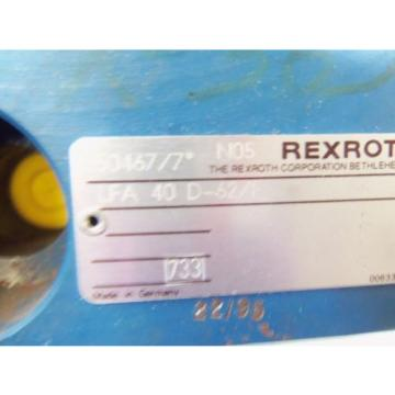 REXROTH Dutch USA HYDRAULIC VALVE LFA 40D-62/F (AS PICTURED) * USED*
