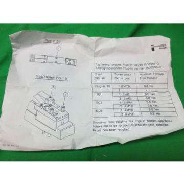MANNESMANN China Germany REXROTH PLUG-IN 20 VALVE 261-108-120-0 ASSEMBLY NEW
