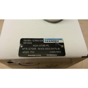 NOS USA Dutch Rexroth Hydraulic Manifold Assembly 12366128 4730014217065 4500-psi