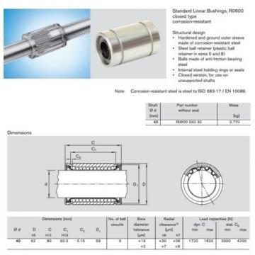 Linear Australia Mexico Bearing / Bushing 40 x 62 x 80 mm Bosch Rexroth R060004030 (KB40) *NEW*