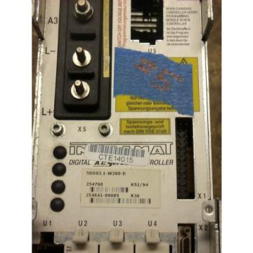 REXROTH Italy Greece INDRAMAT DDS02.1-W200-D POWER SUPPLY AC SERVO CONTROLLER DRIVE HARDW
