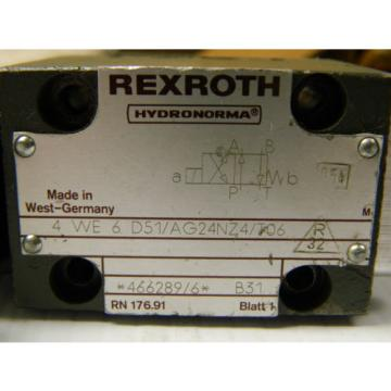 REXROTH Mexico Germany DIRECTIONAL VALVE 4 WE 6 D51/AG24NZ4/T06 4WE6D51AG24NZ4T06 - USED