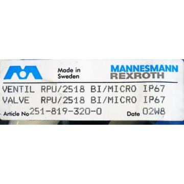 Mannesmann Japan Russia Rexroth RPU/2518 BI/MICRO  251-819-320-0 Ventil -unused/OVP-