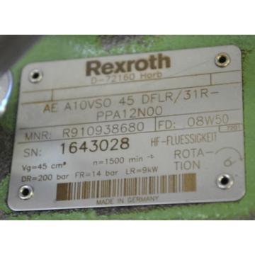 REXROTH Singapore Dutch Axialkolbenpumpe AE A10VSO45DFLR/31R-PPA12N00-160 / 9kW-50Hz 1450UPM