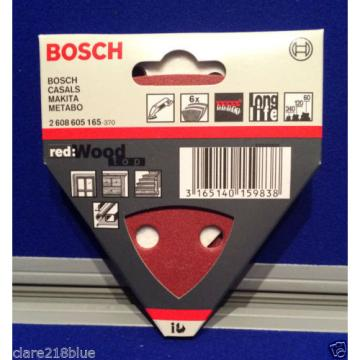 NEW Bosch Sanding Sheets x 6 Red Wood 60 120 240 grit Triangle 2608605165