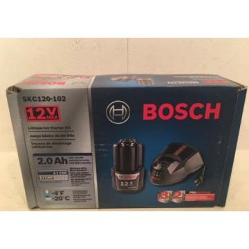 NEW BOSCH SKC120-102 12-VOLT MAX STARTER KIT 2.0AH HIGH CAPACITY BATTERY & CHARG