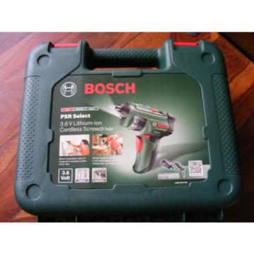 New Bosch PSR Select 3.6V Li-ion Cordless Screwdriver Case & 12 Screwdriver Bits