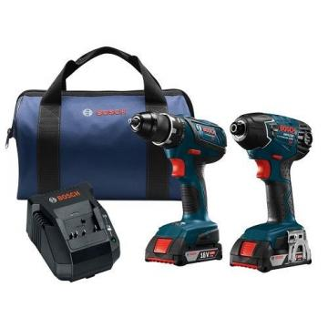 Bosch Cordless Combo Kit 2-Tool 18-Volt Lithium Ion Clpk222 Hammer W Soft Case