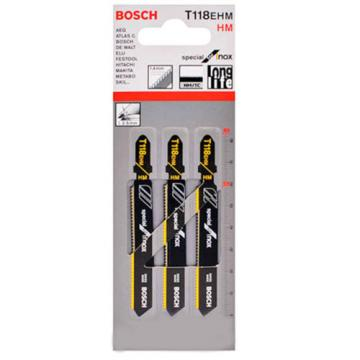 Bosch 3p TC Jigsaw Blade T118EHM Special for Inox Stainless Steel Metal Cutting