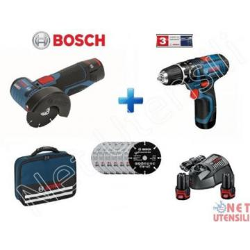 BOSCH GSB + GWS 10,8 V-EC SMERIGLIATRICE + AVVITATORE A BATTERIA CO PERCUSSIONE
