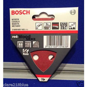 Bosch Hojas Lijadoras x 6 Rojo Madera 60 120 240 grano Triángulo 2608605165