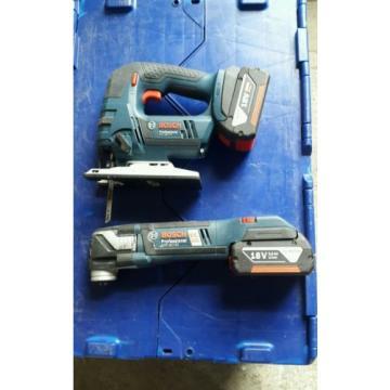 Bosch Jigsaw GST 18V-Li & Multi Cutter GOP 18V-EC  2x Batt