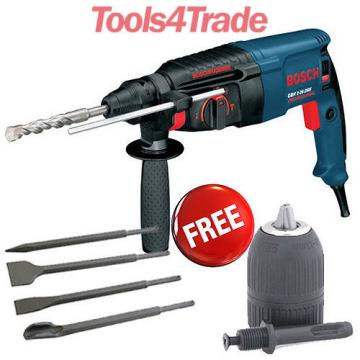 Bosch GBH2-26DRE 2-kilo Rotary Hammer Drill, Free Chisels and Keyless Chuck 110V