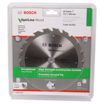 """Bosch Optiline Wood Circular Saw Blade 184mm / 7 1/4"""" 20T 20mm Bore 16mm Bush"""