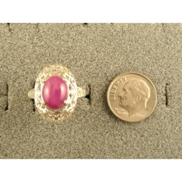10x8mm 3+ CT LINDE LINDY PINK STAR SAPPHIRE CREATED RUBY SECOND RING .925 SS