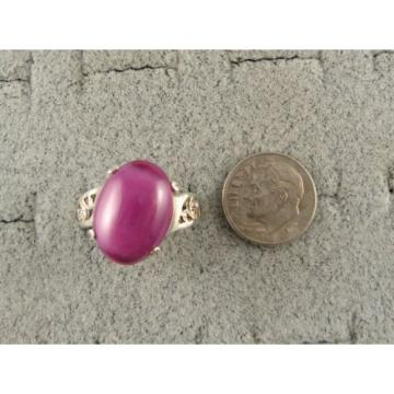 16X12MM 9+CT LINDE LINDY PINK STAR SAPPHIRE CREATED RUBY SECOND Q RING .925 SS