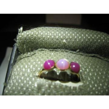 3 STONE GOLD FILLED LINDE STAR SAPPHIRE RING SIZE 7.75
