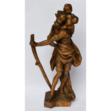 Skulptur Figur Holz Linde handgeschnitzt Heiliger Christophorus 1950/ 60 H 52 cm