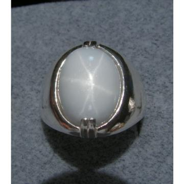 MENS 16X12mm 9+ CT LINDE LINDY WHITE STAR SAPPHIRE CREATED SECOND RING SS