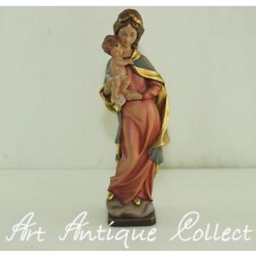 Sculpture Bois Linde Marie Madone Mère De Dieu Jésus Enfant H:38cm