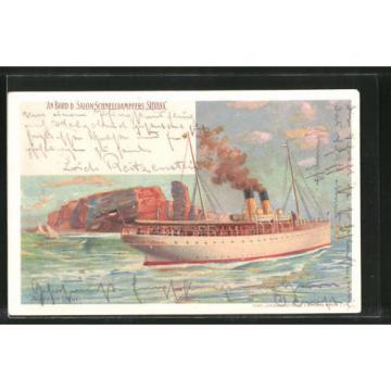 Künstler-Lithographie Wladimir Linde: An Bord des Salon-Schnelldampfers Silvana