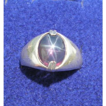 MEN'S 11X9mm 4+ CT TRANS PURPLE LINDE LINDY STAR SAPPHIRE CREATED SECOND RING SS