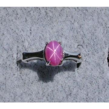 VINTAGE LINDE LINDY PINK STAR RUBY CREATED SAPPHIRE RING RHODIUM PLATE .925 SS A