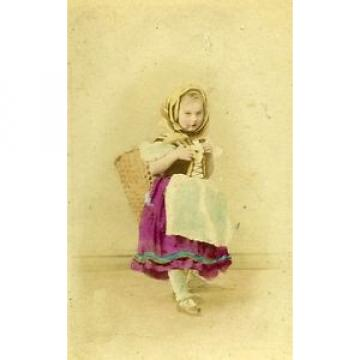 Young Girl & her Toys Berlin Germany Old CDV Photo Linde 1870