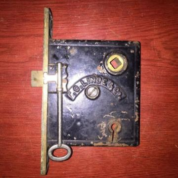 Antique VICTORIAN Eastlake F. C Linde Style Lock With Skeleton Key