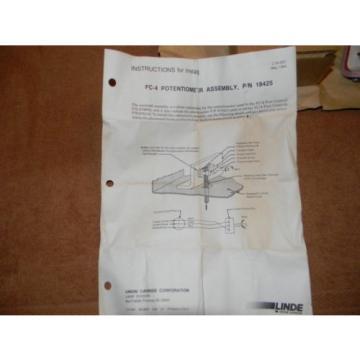 Linde L-Tec Foot Pedal Potentiometer Assembly FC-4 (18425) NOS
