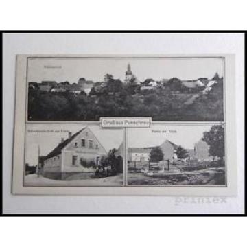 AK Gruß aus Punschrau Schankwirtschaft zur Linde Teich ungelaufen um 1920