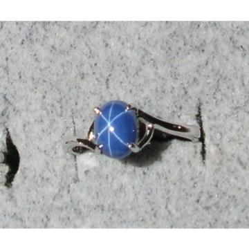 SIGNED VINTAGE LINDE LINDY CORNFLOWER BLUE STAR SAPPHIRE CREATED RING RP .925 SS