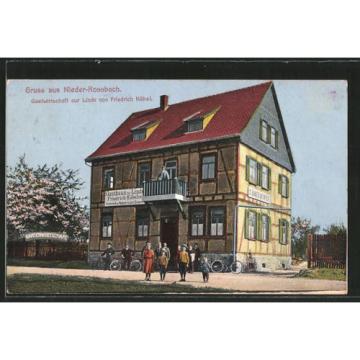 schöne AK Nieder-Rosbach, Gasthaus zur Linde v. F. Köbel, Radfahrer 1914