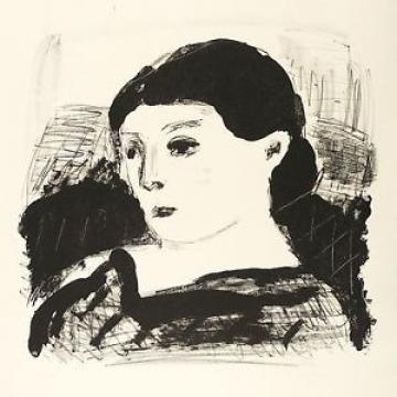 LINDE BISCHOF - Frauenporträt - Lithografie 1977