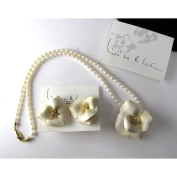 Vintage Linda Van Der Linde Clay Flower & Pearl Necklace & Clip-On Earrings Set