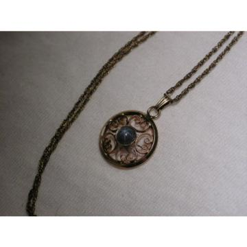 Vintage 12 Gold Filled Filigree,Linde/Lindy Blue Star Sapphire Pendant Necklace