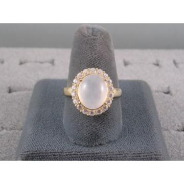 PMP LINDE LINDY TRANSLUCENT WHITE STAR SAPPHIRE CREATED HALO RING YGPLT .925 SS