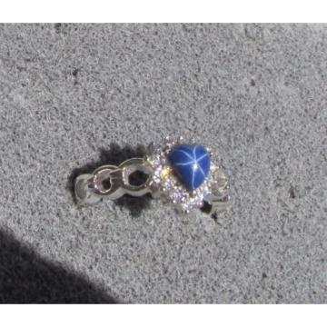6MM HEART LINDE LINDY CF BLUE STAR SAPPHIRE CREATED 2ND RD PLT HALO .925 SS RING