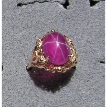 PMP LINDE LINDY TRANS HOT PINK STAR SAPPHIRE CREATED SOLID 10K YELLOW GOLD RING