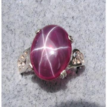 16X12MM 9+CT LINDE LINDY RED STAR SAPPHIRE CREATED RUBY SECOND Q RING .925 SS