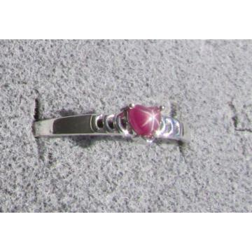 4X4 MM HEART LINDE LINDY RED STAR RUBY CREATED SAPPHIRE 2ND RD PLT .925 SS RING