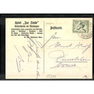 schöne Künstler-AK Geisenheim, Hotel zur Linde v. Chr. Wollmann 1936
