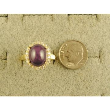 VINTAGE LINDE LINDY PLUM PURPLE STAR SAPPHIRE CREATED HALO RING YLGD PLT .925 SS