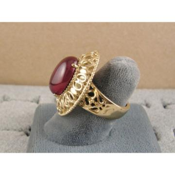 LINDE LINDY RED STAR SAPPHIRE CREATED RUBY 2ND YELLOW GOLD ION PL STNLESS RING
