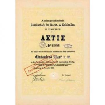 AG Gesellschaft für Markt-& Kühlhallen Hamburg hist Aktie 1921 Linde MuK München