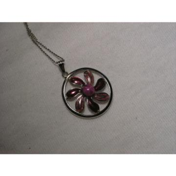 ...Sterling Silver,Enamel,Linde/Lindy Ruby Star Sapphire Pendant Necklace...