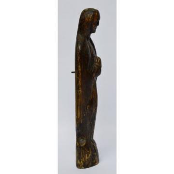 Skulptur Figur Holz Linde handgeschnitzt Madonna Maria Muttergottes 19Jh H 33 cm