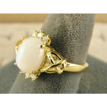 VINTAGE SIGNED LINDE LINDY SHELL WHITE STAR SAPPHIRE CREATED CAP HRT RING YGP SS